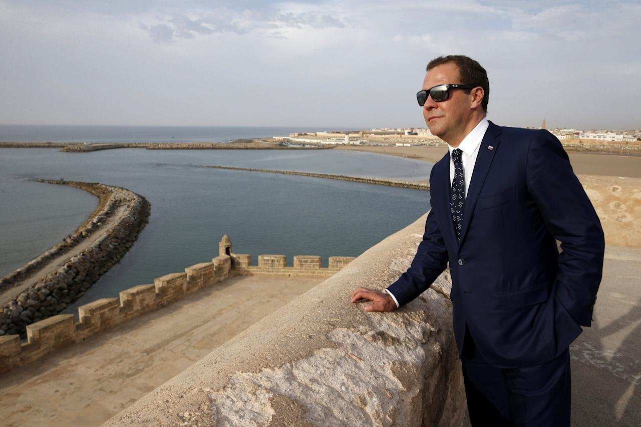 Russia's Prime Minister Dmitry Medvedev looks on in Rabat's Medina, Morroco October 11, 2017. Picture taken October 11, 2017. Sputnik/Dmitry Astakhov/Pool via REUTERS ATTENTION EDITORS - THIS IMAGE WAS PROVIDED BY A THIRD PARTY.