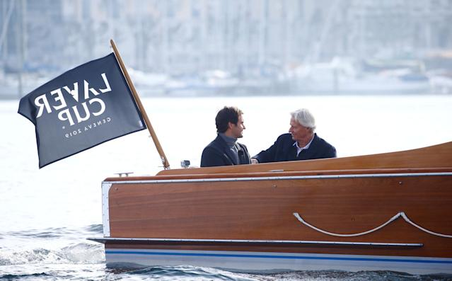 REFILE - ADDING DROPPED LETTER Bjorn Borg and Roger Federer sit aboard a boat during a promotion event for the Laver Cup tennis tournament on Lake Geneva in Geneva, Switzerland February 8, 2019. REUTERS/Arnd Wiegmann