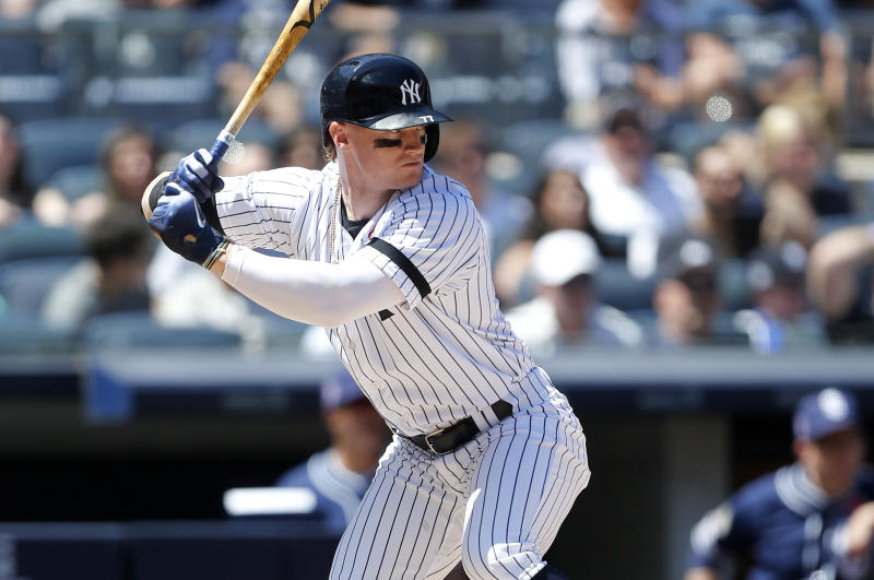 NEW YORK, NEW YORK - MAY 27: (NEW YORK DAILIES OUT) Clint Frazier #77 of the New York Yankees in action against the San Diego Padres at Yankee Stadium on May 27, 2019 in New York City. The Yankees defeated the Padres 5-2. (Photo by Jim McIsaac/Getty Images)