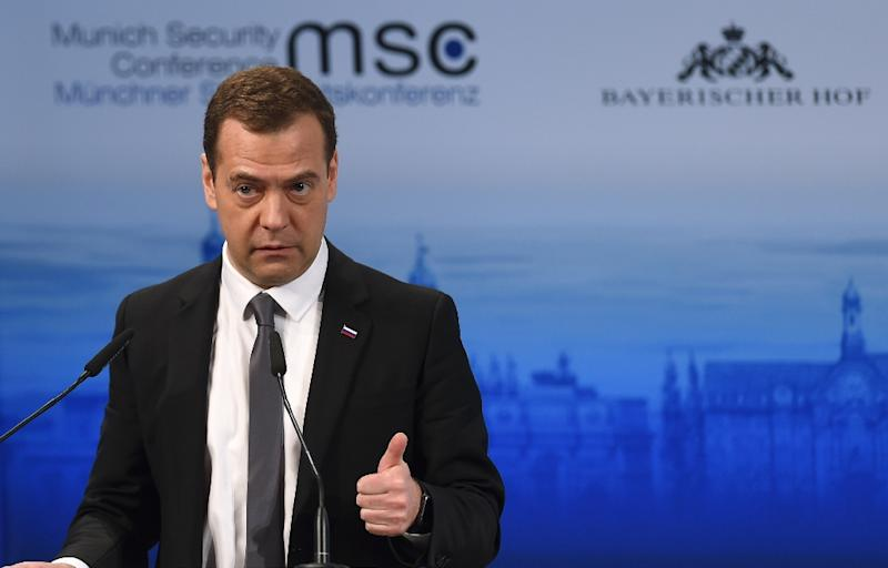 Dmitry Medvedev speaks at the Munich Security Conference on February 13, 2016 (AFP Photo/Christof Stache)