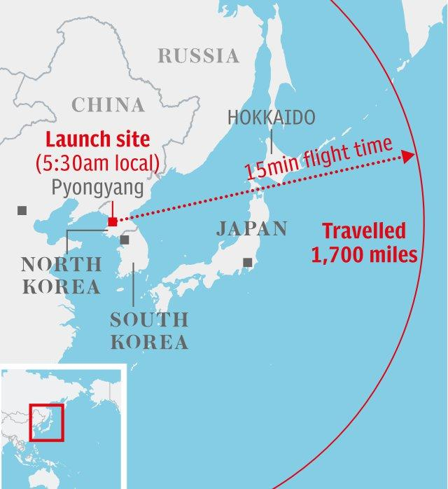 Map: North Korean missile test over japan