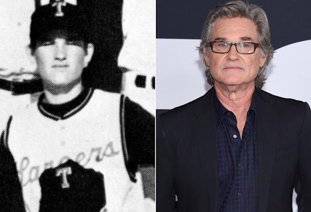 <p>Kurt Russell — who plays Star-Lord's dad Ego, the living planet in <i>Vol. 2</i> — was ready to play ball in this 1968 photo from his junior year at Thousand Oaks (Calif.) High School. (Photo: Seth Poppel/Yearbook Library/Getty Images) </p>