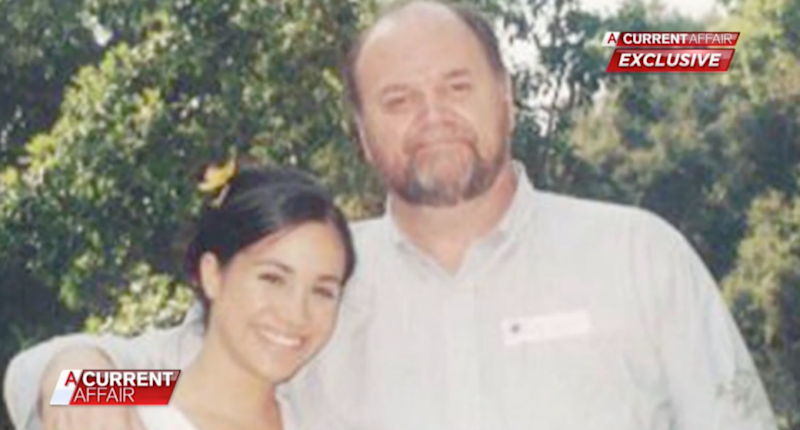 The royal bride pictured with her dad Thomas Markle. Photo: Nine