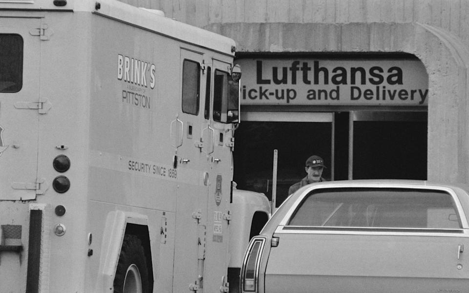 The Brink's truck parked outside the Lufthansa terminal at JFK airport in 1978 - Bettmann