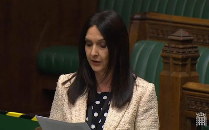 Margaret Ferrier in the House of Commons on Monday during a debate on the coronavirus response - Parliament TV
