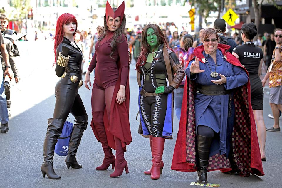 <p>Cosplayers dressed at Black Widow, Scarlet Witch, Gamora, and Doctor Strange at Comic-Con International on July 19, 2018, in San Diego. (Photo: Quinn P. Smith/Getty Images) </p>