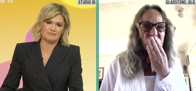 Pictured is Studio 10 host Sarah Harris (left) tearing up as she speaks to a sobbing Ellen Smail (right).