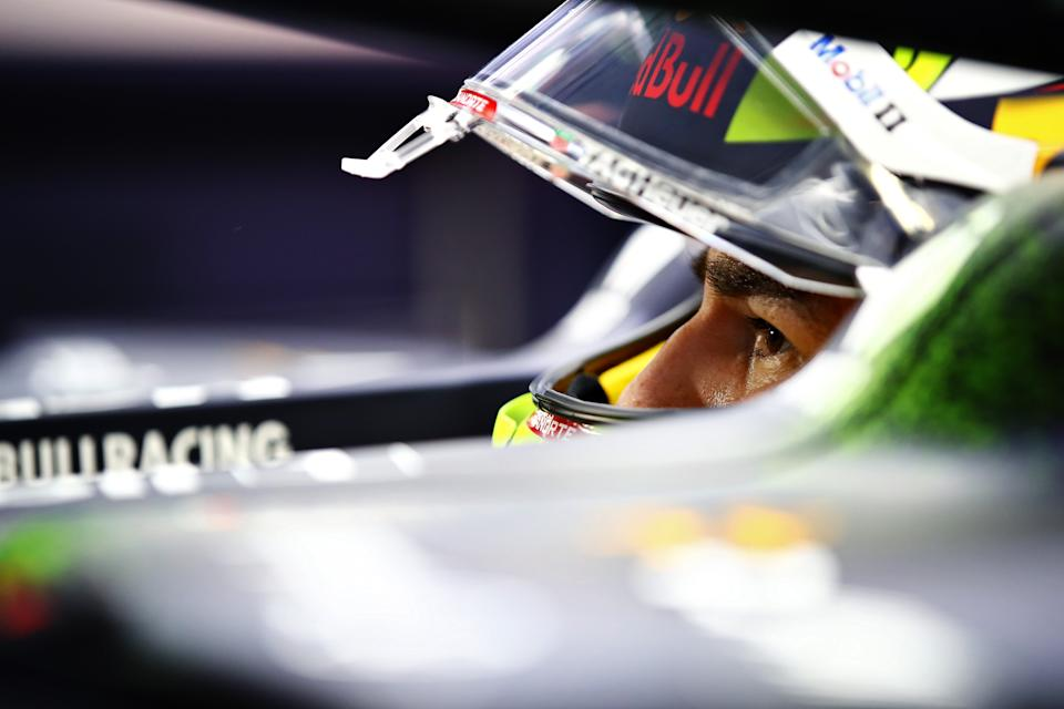 BAHRAIN, BAHRAIN - MARCH 26: Sergio Perez of Mexico and Red Bull Racing prepares to drive during practice ahead of the F1 Grand Prix of Bahrain at Bahrain International Circuit on March 26, 2021 in Bahrain, Bahrain. (Photo by Mark Thompson/Getty Images)