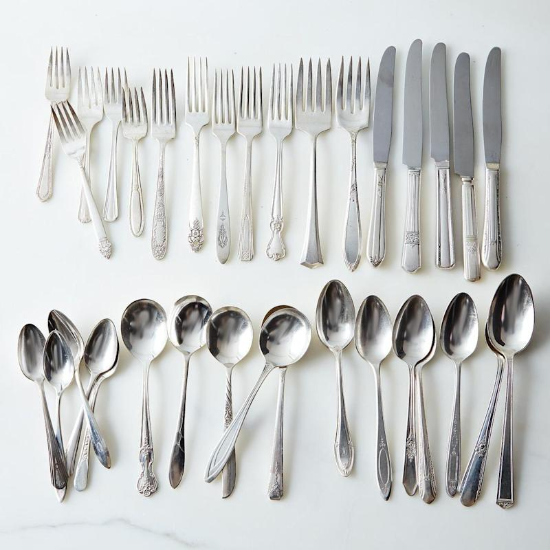 """New, but inexpensive, dining ware can make all the difference when it comes to setting the table for the holidays. Get this flatware set at <a href=""""https://food52.com/shop/products/1826-vintage-silver-plated-eclectic-flatware-sets-of-4"""" target=""""_blank"""">Food52</a>."""