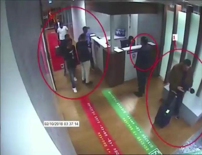 CCTV video from Istanbul's Ataturk airport made available by Turkish Newspaper Sabah allegedly shows suspects in the case of missing Saudi journalist Jamal Khashoggi (AFP Photo/-)