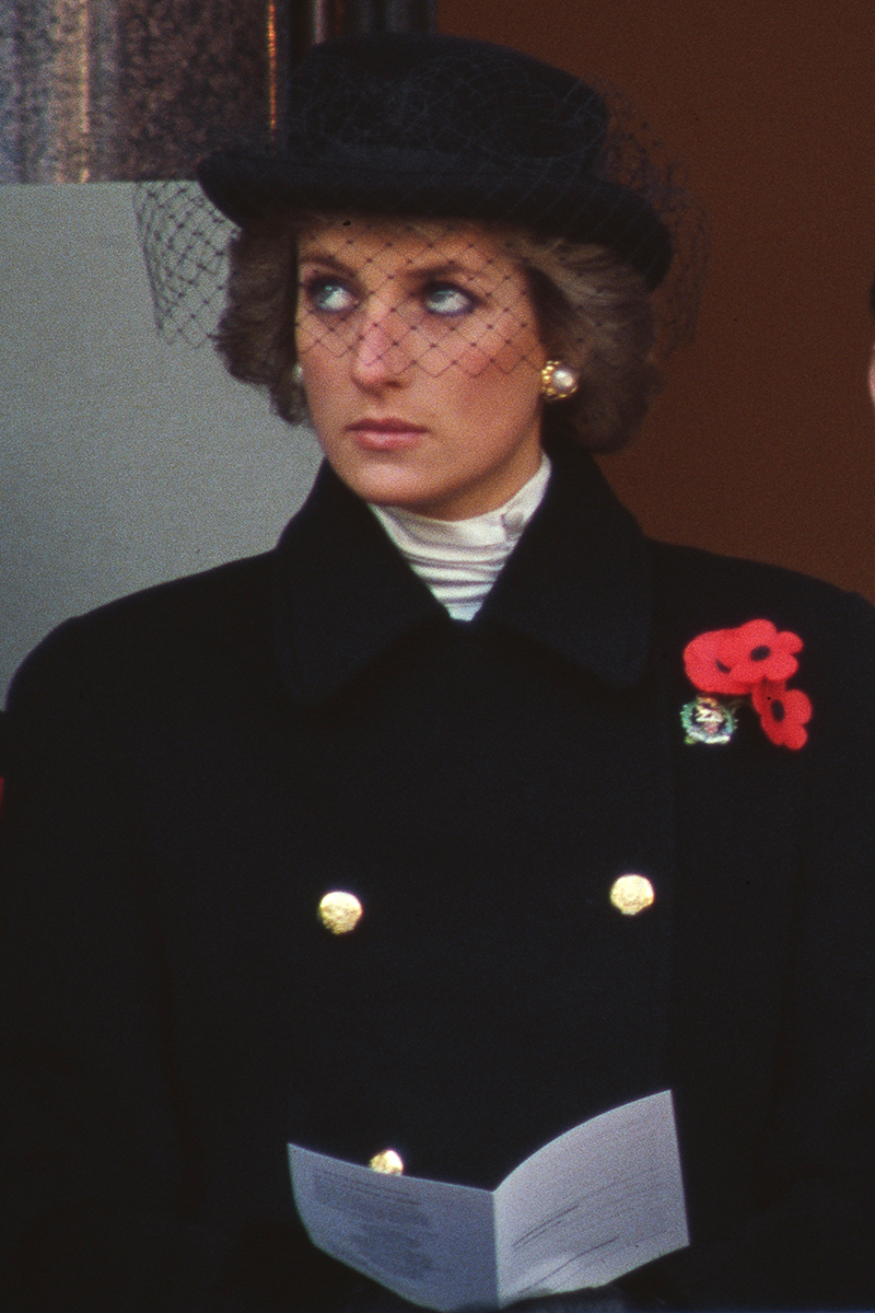 <p>You've no doubt seen this Diana look before - the all-black ensemble worn by the Princess for the National Service of Remembrance in 1988.</p>