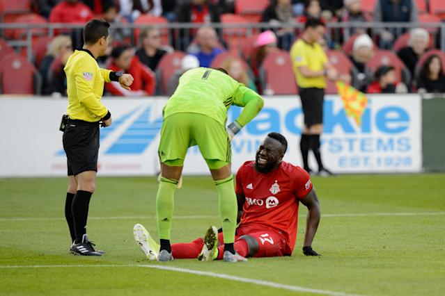 Jozy Altidore hasn't played since injuring his quad in the final game of the MLS regular season for Toronto FC. (Julian Avram/Getty)