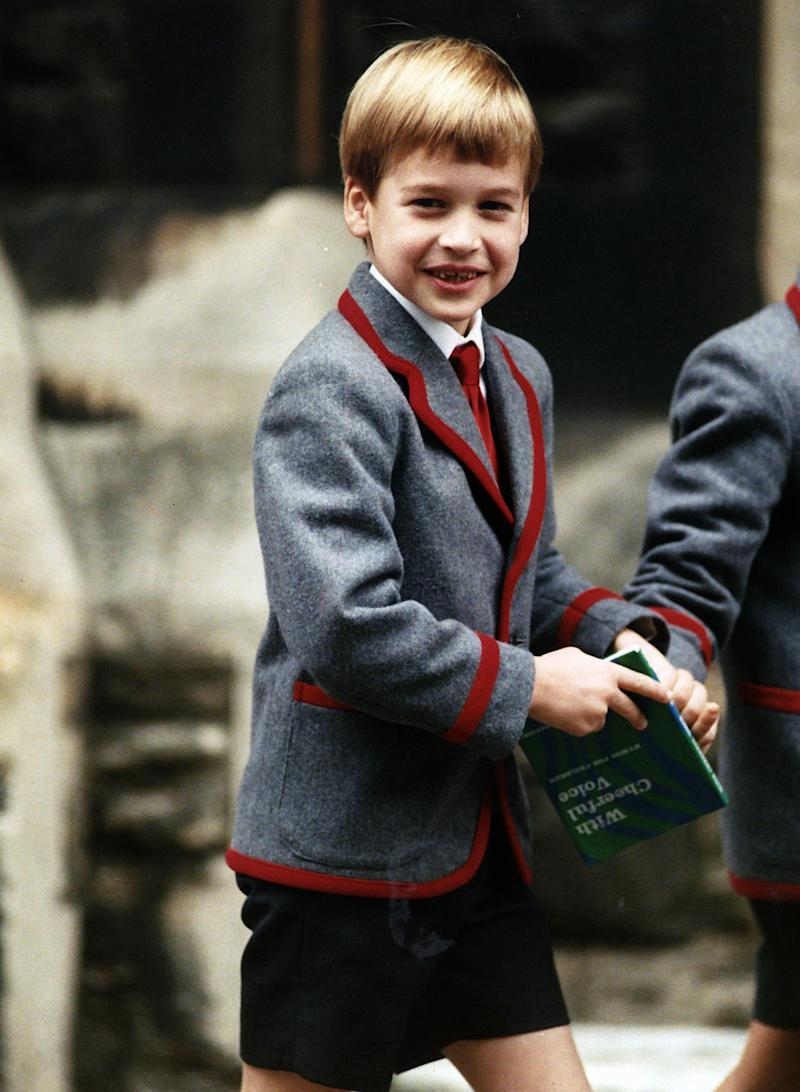 Prince William leaving Thanksgiving Service at school in 1989