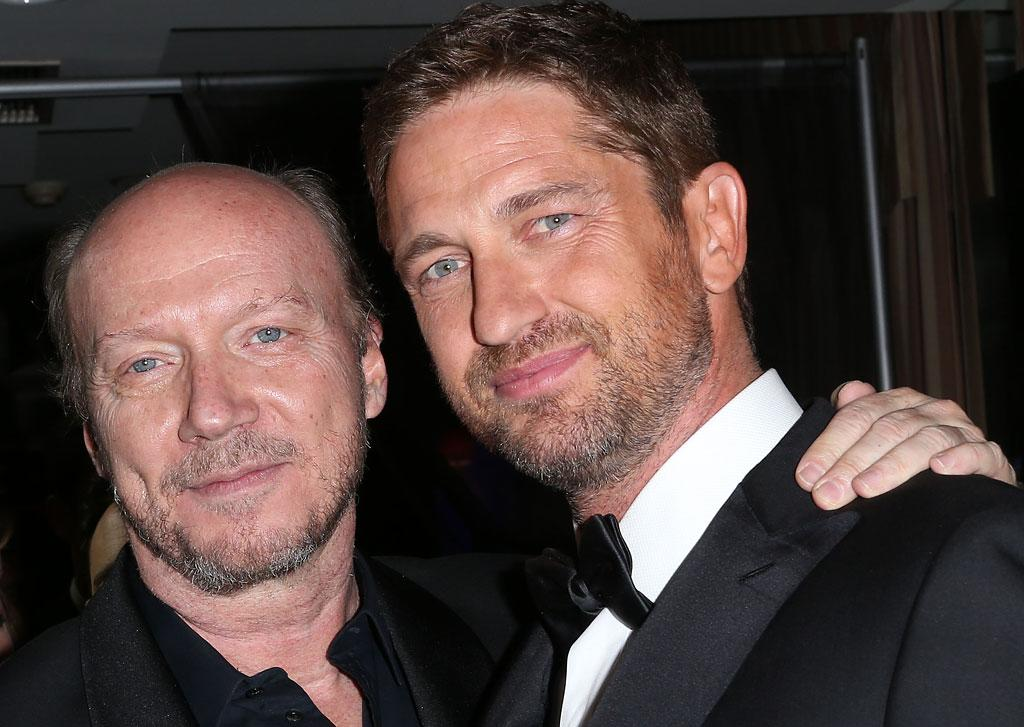 Paul Haggis (L) and Gerard Butler attend Hollywood Domino And Bovet 1822 Gala Benefiting Artists For Peace And Justice at the Sunset Tower Hotel on February 21, 2013 in West Hollywood, California