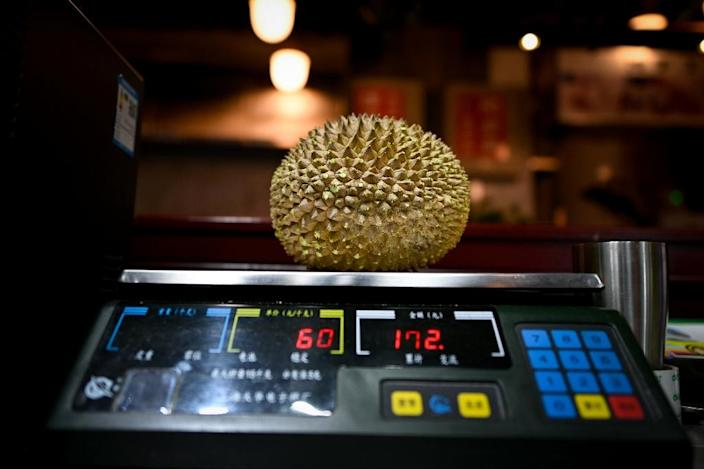 The value of durian shipments from Malaysia to China in the first eight months of 2018 hit 7.4 million ringgit ($1.8 million), more than double the value in the same period of 2017, according to the agriculture ministry in Kuala Lumpur (AFP Photo/WANG ZHAO)