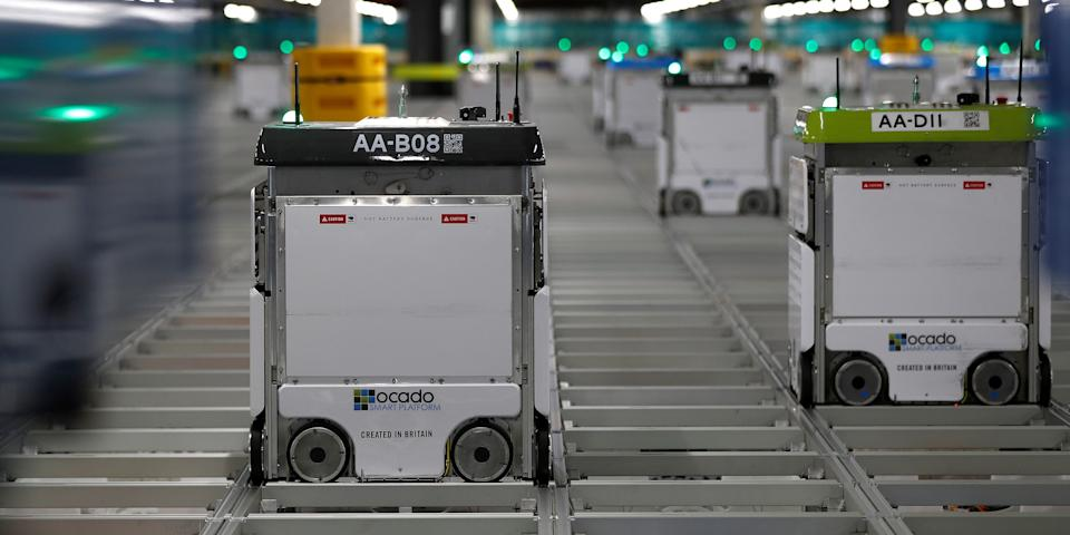 """Bots"" are seen on the grid (or ""The Hive"") of Ocado's ""smart platform"" in Andover, Britain, on May 1, 2018."