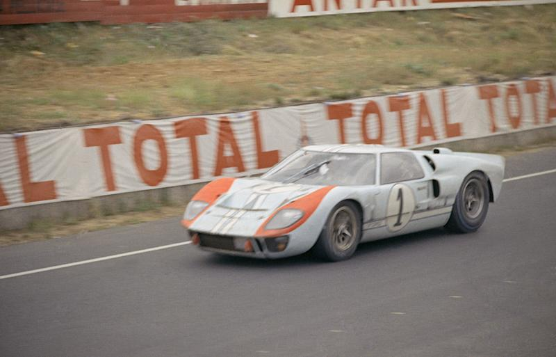 Race car action at Le Mans, June 17, 1966. No. 1: Ford 7-liter; Ken Miles of Hollywood; Dennis Hulme, New Zealand; . (AP Photo)