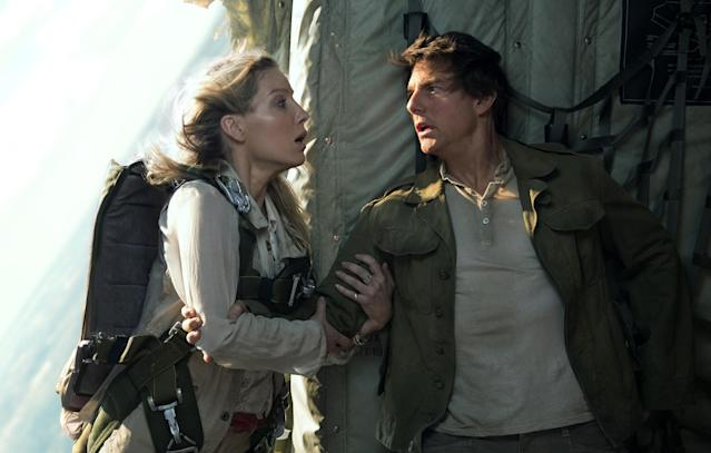 """<p><a href=""""https://filmschoolrejects.com/tom-cruise-movie-love-interests-age/"""" rel=""""nofollow noopener"""" target=""""_blank"""" data-ylk=""""slk:It's not lost on anyone"""" class=""""link rapid-noclick-resp"""">It's not lost on anyone</a> that Tom Cruise is trying to act younger than his age, not just in terms of stunt work but also the women he romances onscreen. That gap was particularly pronounced in last summer's box-office bomb in which the 55-year-old Cruise pursued the 33-year-old Annabelle Wallis, who had to pretend to be charmed by his long-in-the-tooth Han Solo impression. In hindsight, we probably underappreciated her performance. (Photo: Universal/courtesy Everett Collection) </p>"""