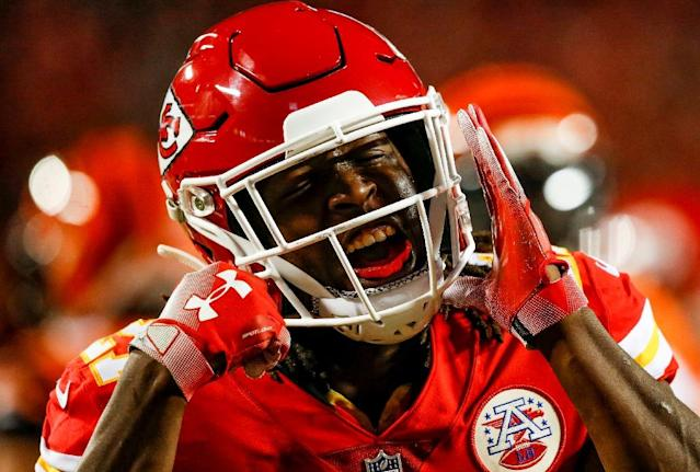Kareem Hunt has played a key role in the Kansas City Chiefs' rise to the top of the AFC West division, rushing for 824 yards and seven touchdowns while adding 26 catches for 378 receiving yards and seven more receiving TDs (AFP Photo/David Eulitt)