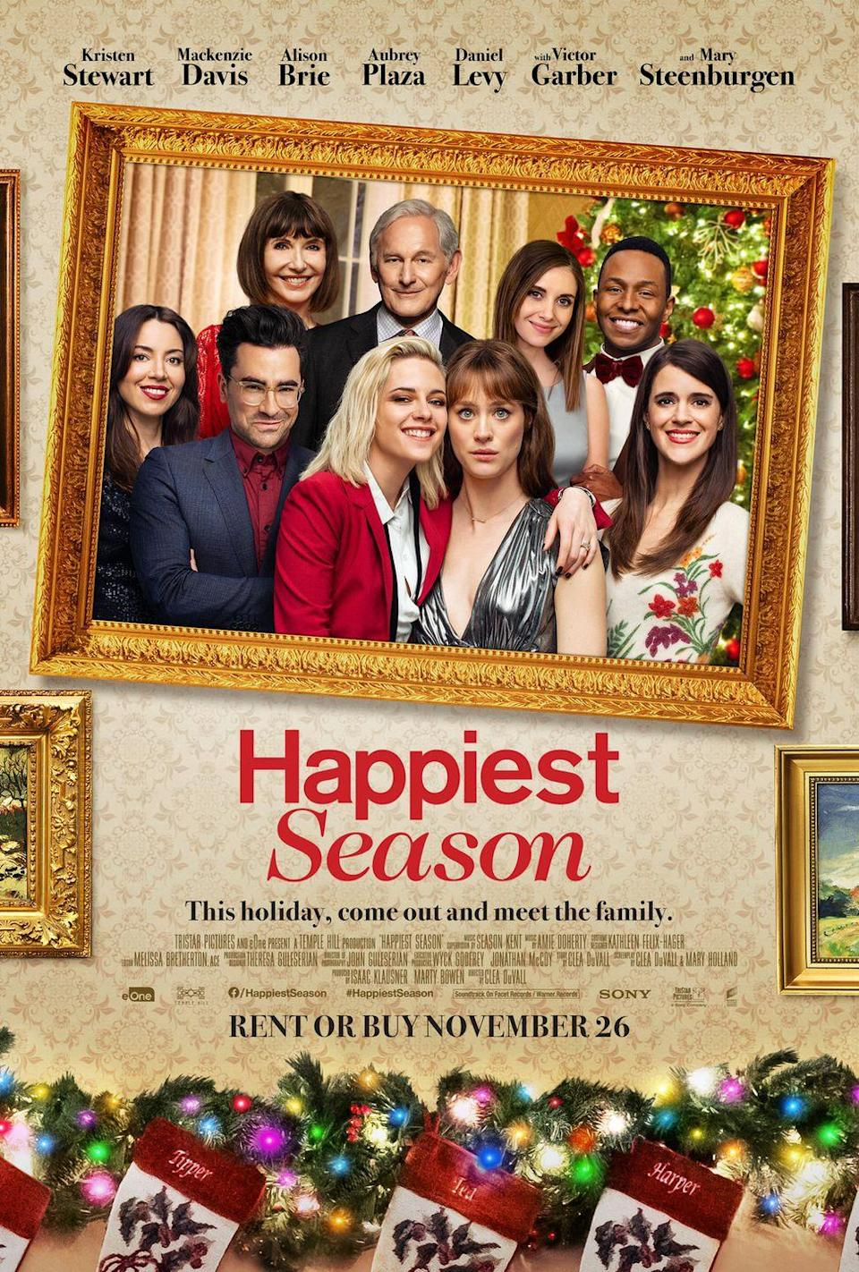 """<p>When Abby decides to attend Christmas with her girlfriend Harper's family, she's shocked to find out that Harper has kept their romantic relationship a secret from her family. As they navigate a complicated family dynamic, Abby begins to wonder how well she really knows Harper.</p><p><a class=""""link rapid-noclick-resp"""" href=""""https://go.redirectingat.com?id=74968X1596630&url=https%3A%2F%2Fwww.hulu.com%2Fmovie%2Fhappiest-season-8bd1884d-b39d-4dc7-9c44-29f07de2f1ef&sref=https%3A%2F%2Fwww.womansday.com%2Flife%2Fentertainment%2Fg29702471%2Fnew-christmas-movies%2F"""" rel=""""nofollow noopener"""" target=""""_blank"""" data-ylk=""""slk:STREAM NOW"""">STREAM NOW</a></p>"""