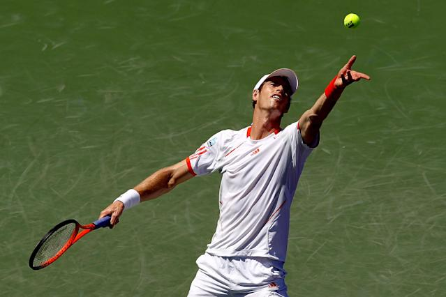 Andy Murray of Great Britain serves to Alejandro Falla of Colombia during day five of the Sony Ericsson Open at the Crandon Park Tennis Center on March 23, in Key Biscayne, Florida. Murray eased into the third round by dispatching Falla 6-2, 6-3 (AFP Photo/Matthew Stockman)