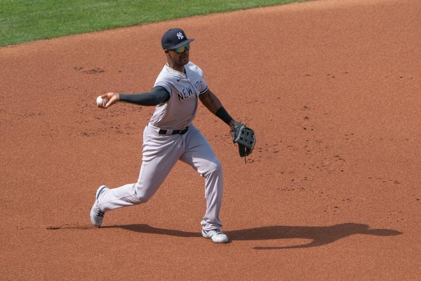 Miguel Andujar throwing from third base