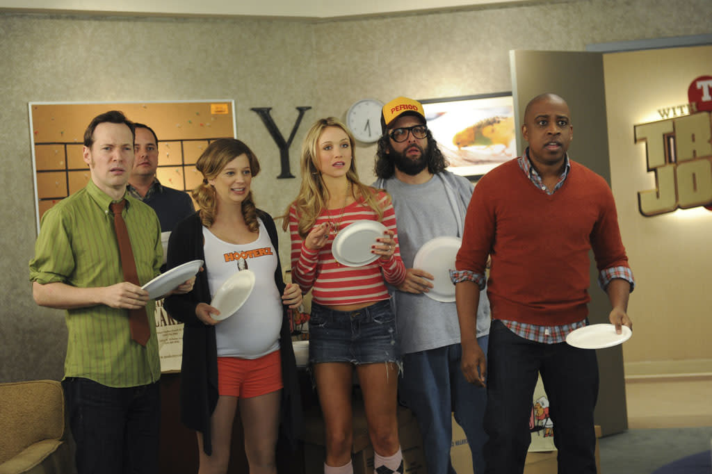 "30 ROCK -- ""Part 1: Hogcock! Part 2: Last Lunch"" Episode 712/713 -- Pictured: (l-r) Sue Galloway as Sue, Katrina Bowden as Cerie, Judah Friedlander as Frank, Keith Powell as Toofer"