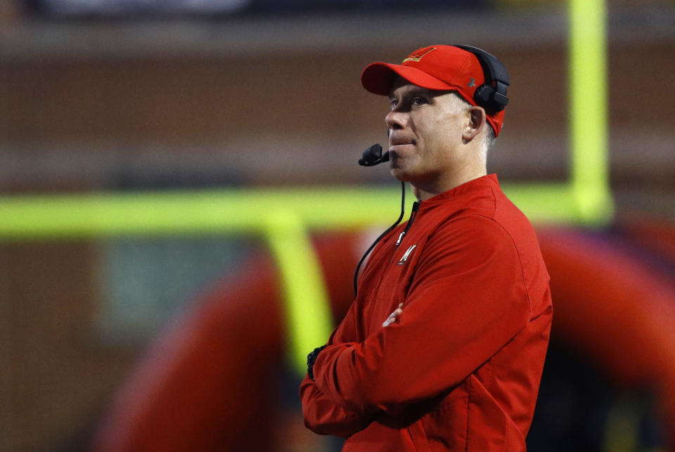 Maryland head coach DJ Durkin watches the first half of an NCAA college football game against Penn State in College Park, Md., Saturday, Nov. 25, 2017. (AP Photo/Patrick Semansky)
