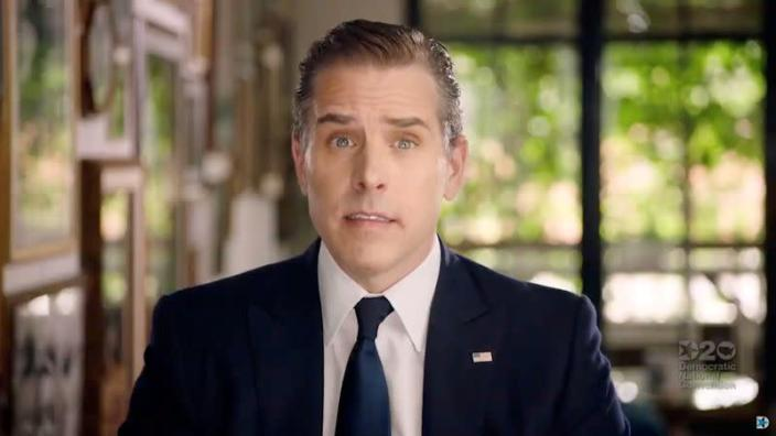FILE PHOTO: Hunter Biden speaks via video at the 2020 Democratic National Convention