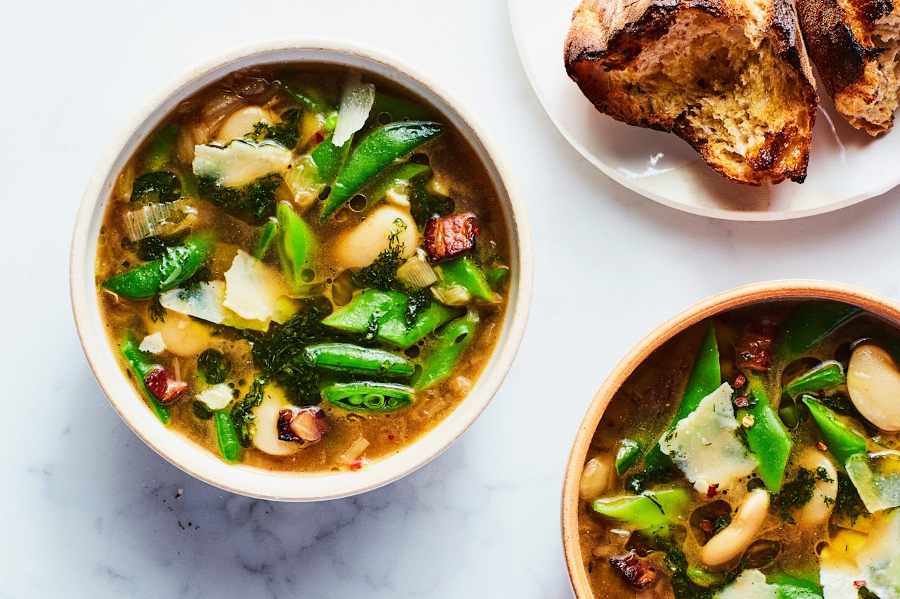 """This fresh, vegetable-packed soup is perfect for those chilly fall days when the cold suddenly swoops in and you're craving a bowl of something warm. <a href=""""https://www.epicurious.com/recipes/food/views/three-bean-soup?mbid=synd_yahoo_rss"""">See recipe.</a>"""