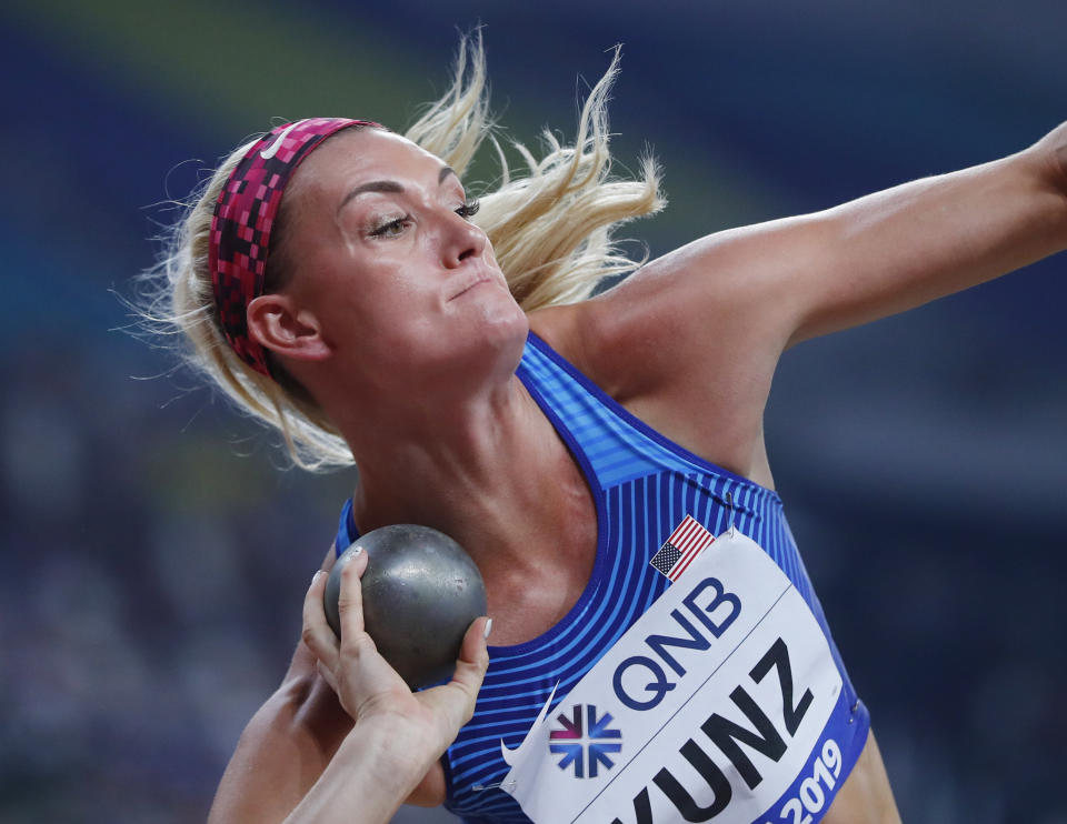 Olympic athlete Annie Kunz of the U.S. competes in the Women's Heptathlon Shot Put at the World Athletics Championships in Doha, Qatar, on October 2, 2019. REUTERS/Kai Pfaffenbach