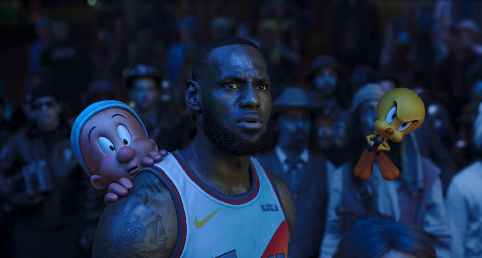 "Basketball star LeBron James teams up with Elmer Fudd, Tweety Bird and other Looney Tunes characters for an epic hoops game in the live-action/animated film ""Space Jam: A New Legacy."""