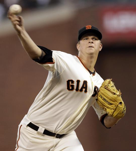 San Francisco Giants' Matt Cain delivers a pitch in the first inning of Game 1 of the National League division baseball series against the Cincinnati Reds in San Francisco, Saturday, Oct. 6, 2012. (AP Photo/Marcio Jose Sanchez)
