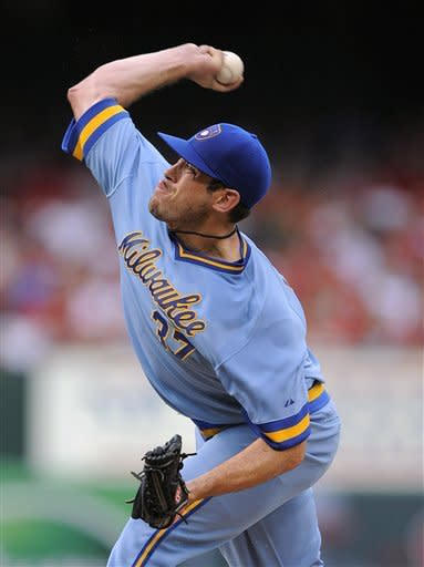 Milwaukee Brewers starting pitcher Mark Rogers throws during the second inning of a baseball game against the St. Louis Cardinals Saturday, Aug. 4, 2012, in St. Louis. (AP Photo/Jeff Curry)