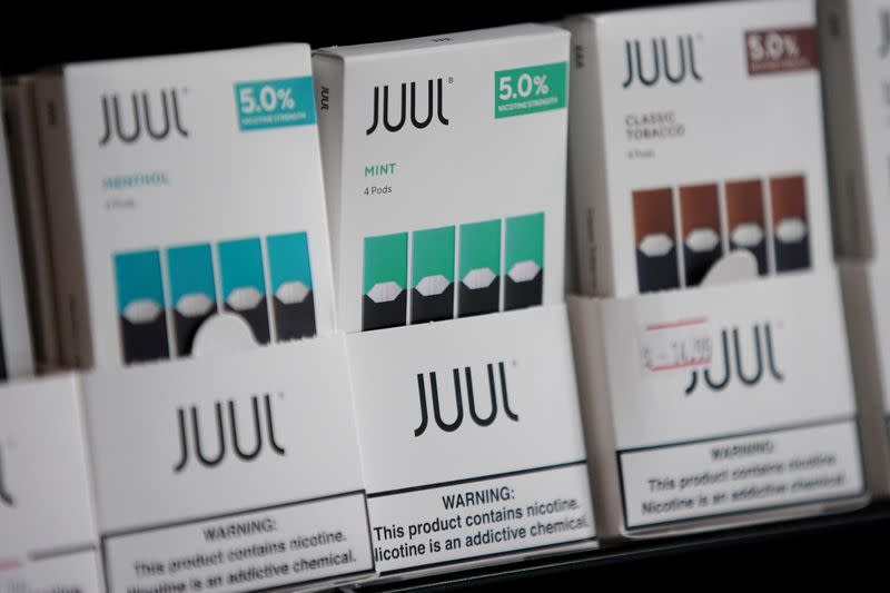 FILE PHOTO: Juul brand vape cartridges are pictured for sale at a shop in Atlanta