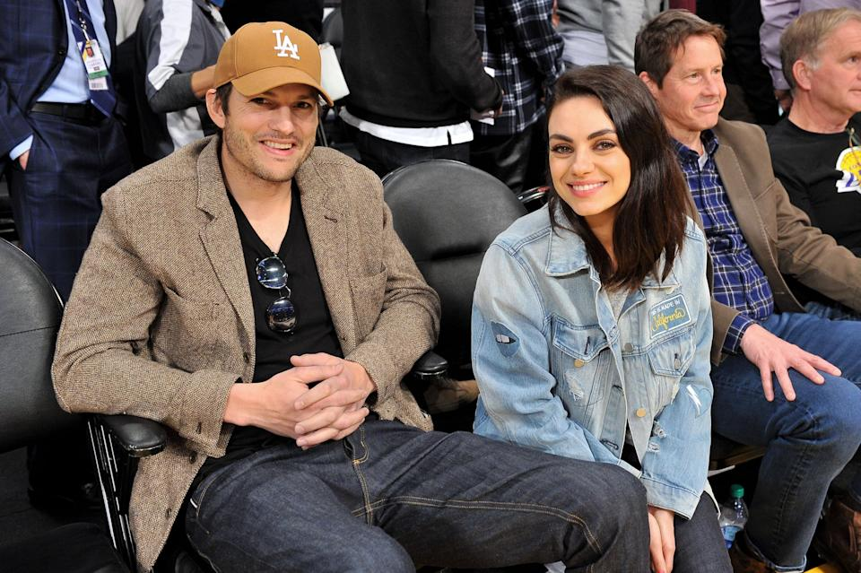 LOS ANGELES, CALIFORNIA - JANUARY 29: Ashton Kutcher and Mila Kunis attend a basketball game between the Los Angeles Lakers and the Philadelphia 76ers at Staples Center on January 29, 2019 in Los Angeles, California. (Photo by Allen Berezovsky/Getty Images)