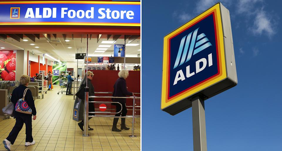 Customers going in to an Aldi store (left) and Aldi sign (right).