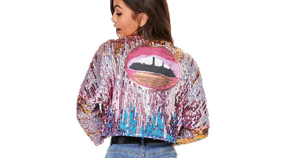 """<p>Sparkle all weekend in this Missguided Pink Ombre Sequin Cropped Jacket, £45 from <a rel=""""nofollow noopener"""" href=""""https://www.missguided.co.uk/pink-ombre-sequin-cropped-jacket-10047646"""" target=""""_blank"""" data-ylk=""""slk:missguided.com"""" class=""""link rapid-noclick-resp"""">missguided.com</a> </p>"""