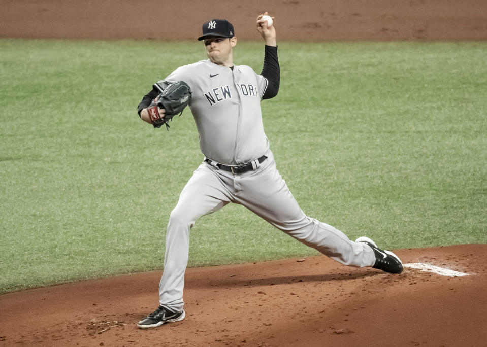New York Yankees starter Jordan Montgomery pitches against the Tampa Bay Rays during the first inning of a baseball game Tuesday, May 11, 2021, in St. Petersburg, Fla. (AP Photo/Steve Nesius)