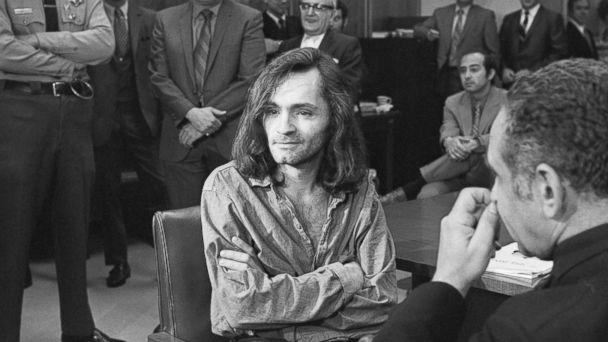PHOTO: 'I Don't Have Any Guilt' said long-haired hippie chieftain Charles Manson, 35, in brief press conference in courtroom here, June 18, 1970, where a hearing to continue proceedings in the murder case of musician Dary Hinman was held. (Bettmann Archive/Getty Images)
