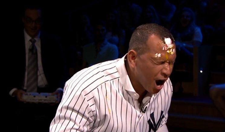 Alex Rodriguez smashed an egg on his head on television, and had a lot of fun doing it. (Youtube)