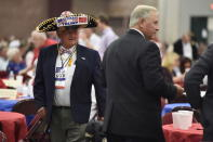 Attendees arrive on Monday, Aug. 26, 2019, at the Faith and Freedom BBQ hosted by U.S. Rep. Jeff Duncan in Anderson, S.C. Vice President Mike Pence is headlining this year's event. (AP Photo/Meg Kinnard)