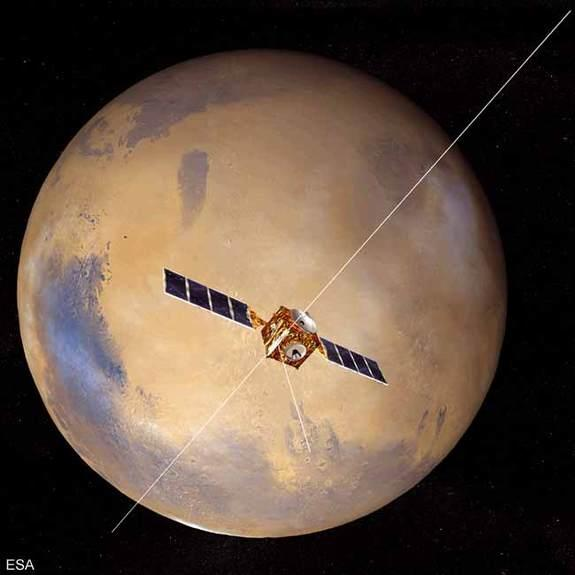 An artist's conception of the Mars Express craft with the MARSIS antenna in place.