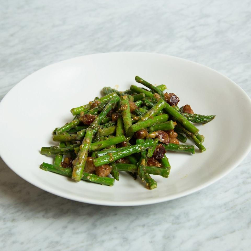 "<p>Cookbook author Melissa Clark riffs on classic carbonara, swapping out the pasta for thin asparagus spears. It has that same irresistible pancetta-cheese-egg flavor, but with bright green asparagus at the center.</p><p><a href=""https://www.foodandwine.com/recipes/asparagus-carbonara"">GO TO RECIPE</a></p>"