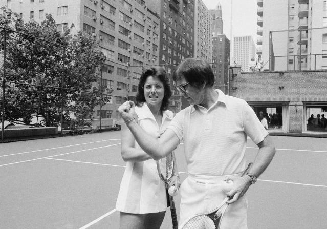 Billie Jean King and Bobby Riggs before their epic match. (AP)