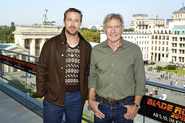 """<p>Gosling, star of the upcoming <i>Blade Runner 2049</i>, posed with Ford, who starred in 1982's <i>Blade Runner</i> and returns for the reboot, while promoting the movie in Berlin. In case you were wondering, they did get along, according to Ford's <a href=""""https://www.gq.com/story/harrison-ford-gq-cover-story-2017"""" rel=""""nofollow noopener"""" target=""""_blank"""" data-ylk=""""slk:new GQ interview"""" class=""""link rapid-noclick-resp"""">new <i>GQ</i> interview</a>. """"He was fun to work with. I like him a lot,"""" he told the mag. (Photo: Sebastian Reuter/Getty Images for Sony Pictures) </p>"""
