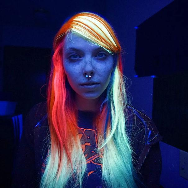 """<p>These days, if you want to make your rainbow mane glow (or just enjoy the shock factor of those who do!), you most definitely can. One poster child for this trend is longtime rainbow-haired Megan McCay, shown here, who Instagrams at <a href=""""https://www.instagram.com/rainbowmegz/"""" rel=""""nofollow noopener"""" target=""""_blank"""" data-ylk=""""slk:RainbowMegz"""" class=""""link rapid-noclick-resp"""">RainbowMegz</a>. <i>(Photo: <a href=""""https://www.instagram.com/rainbowmegz/"""" rel=""""nofollow noopener"""" target=""""_blank"""" data-ylk=""""slk:RainbowMegz"""" class=""""link rapid-noclick-resp"""">RainbowMegz</a>)</i></p>"""