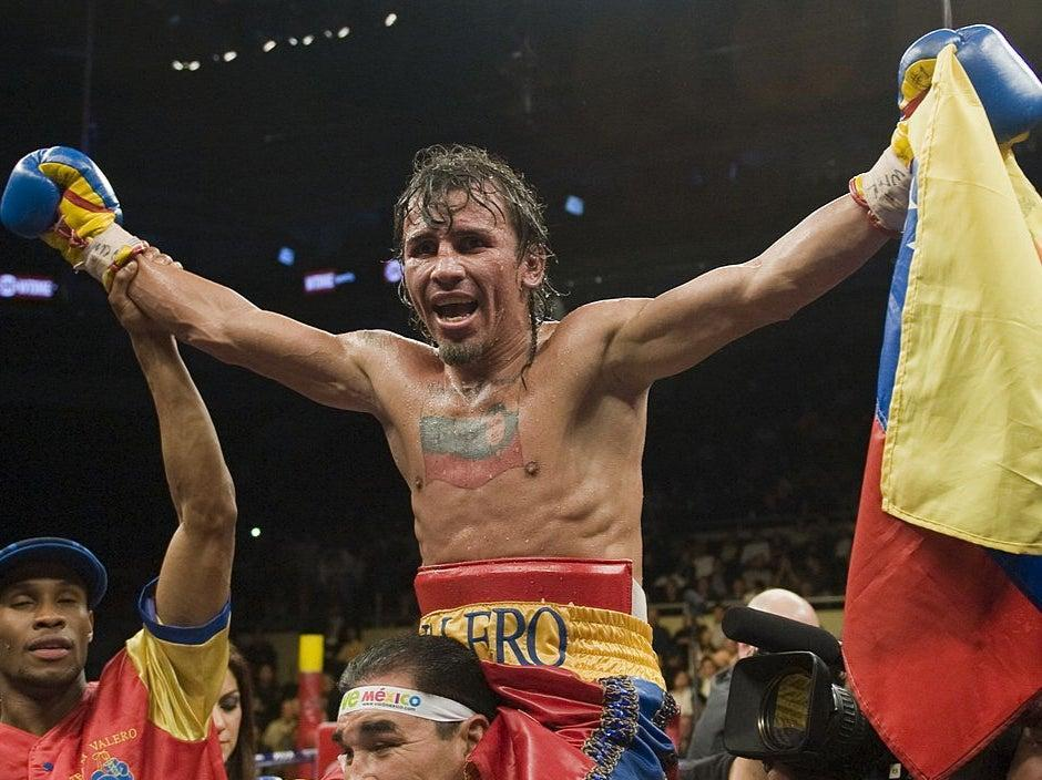 Edwin Valero celebrates his victory over Antonio DeMarco (AFP)