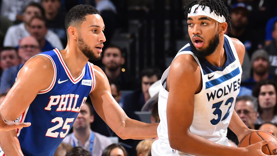 Ben Simmons and Karl-Anthony Towns playing against each other
