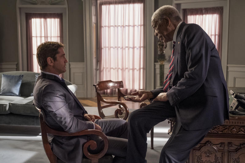 Gerard Butler and Morgan Freeman in <i>Angel Has Fallen</i>. (Lionsgate)